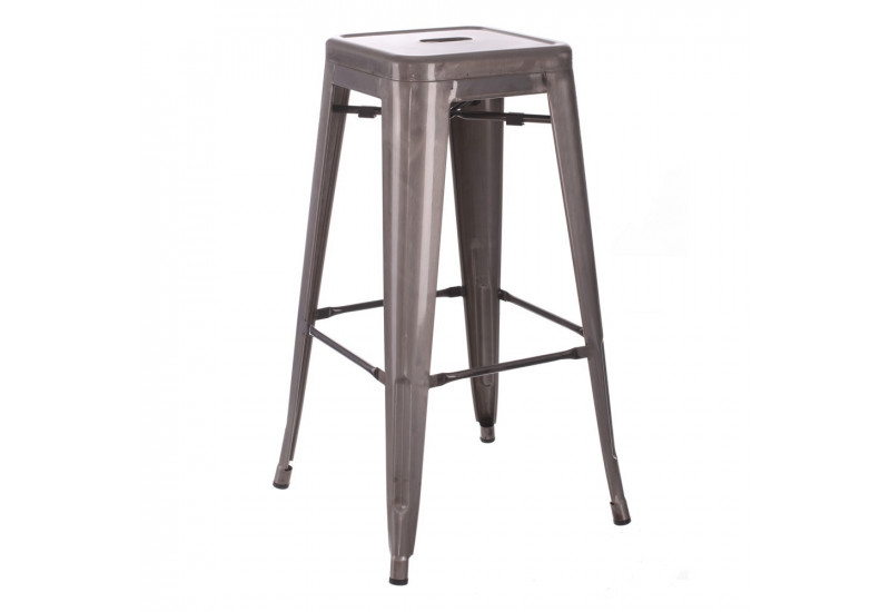 tabouret de bar industriel en m tal argent dallas by. Black Bedroom Furniture Sets. Home Design Ideas