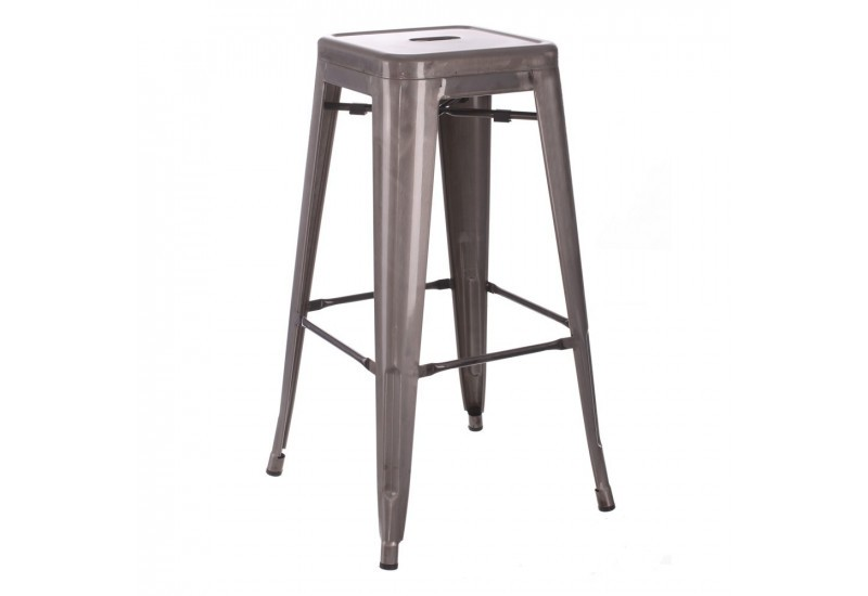 tabouret de bar industriel en m tal argent dallas by auxportesdela. Black Bedroom Furniture Sets. Home Design Ideas