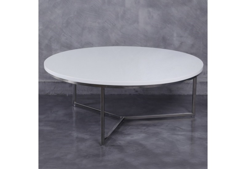 Table basse ronde moderne en m tal et plateau bois laqu e blanc by for Table basse moderne bois