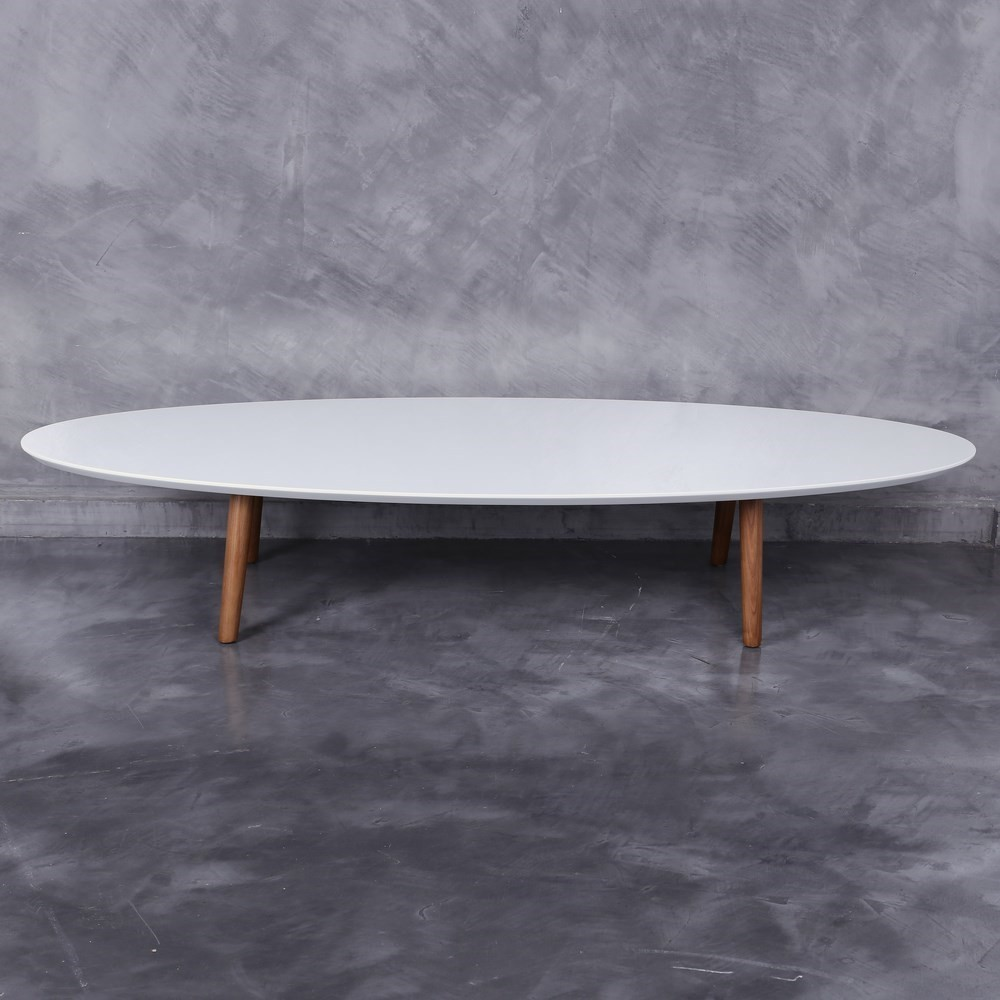 Table basse blanche ovale hoze home - Table basse bois ovale ...