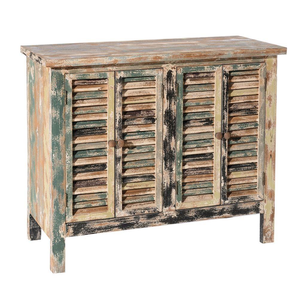 Meuble Salle De Bain Boheme ~ buffet 4 portes persiennes boh me chic en bois vieilli multicolore