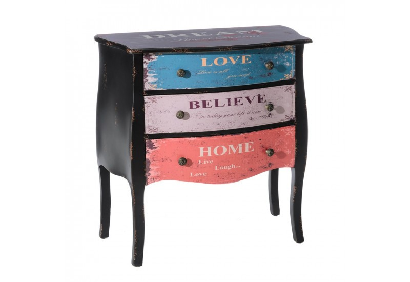 commode 3 tiroirs en bois vieilli multicolore style boh me chic by. Black Bedroom Furniture Sets. Home Design Ideas