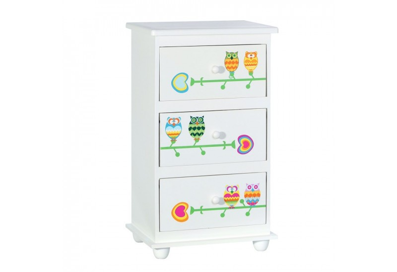 Table de chevet enfant 3 tiroirs blanc hibou by - Table de chevet enfants ...