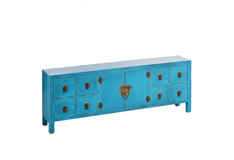 buffet bas chinois 8 tiroirs et 2 portes en bois bleu turquoise by. Black Bedroom Furniture Sets. Home Design Ideas