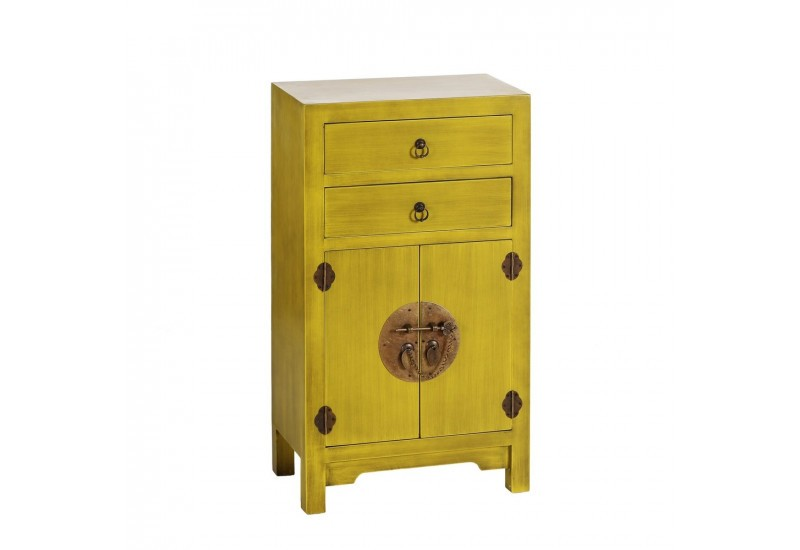 commode chinoise 2 tiroirs et 2 portes en bois jaune by auxportesde. Black Bedroom Furniture Sets. Home Design Ideas