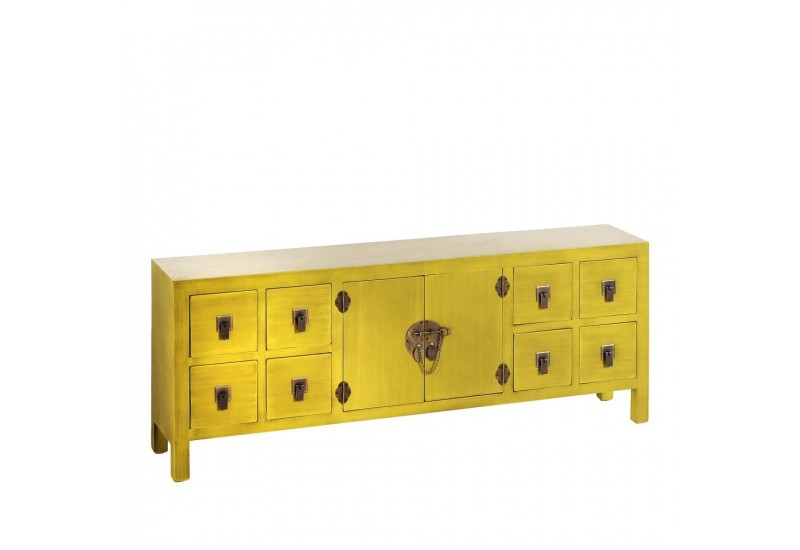 Buffet bas 8 tiroirs et 2 portes en bois jaune by for Buffet hanjel