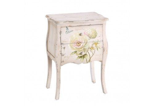 table de chevet romantique fleurs blanc vieilli by. Black Bedroom Furniture Sets. Home Design Ideas
