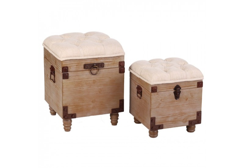 set de 2 poufs coffres beige bois tissu by auxportesdeladeco aixi. Black Bedroom Furniture Sets. Home Design Ideas