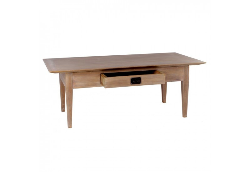 Table basse style coloniale 1 tiroir en bois naturel mindi by auxpo - Table basse coloniale ...