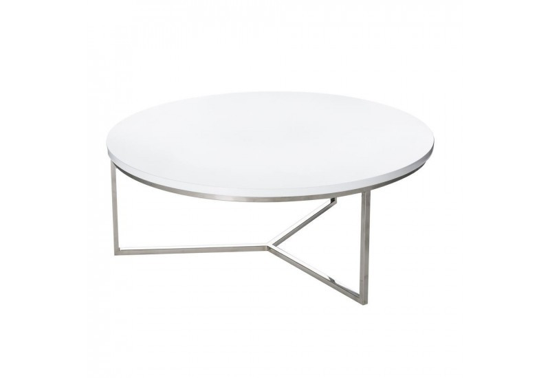 Table basse ronde moderne en m tal et plateau bois laqu e for Table ronde blanc