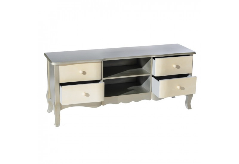 meuble tv baroque en bois patin argent cr me by. Black Bedroom Furniture Sets. Home Design Ideas