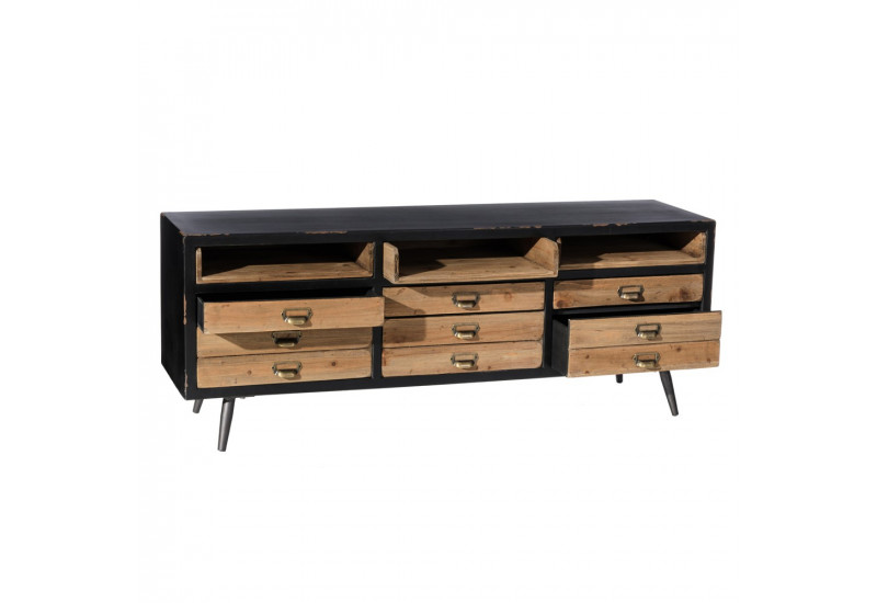 meuble tv style atelier r tro en bois patin vieilli noir. Black Bedroom Furniture Sets. Home Design Ideas