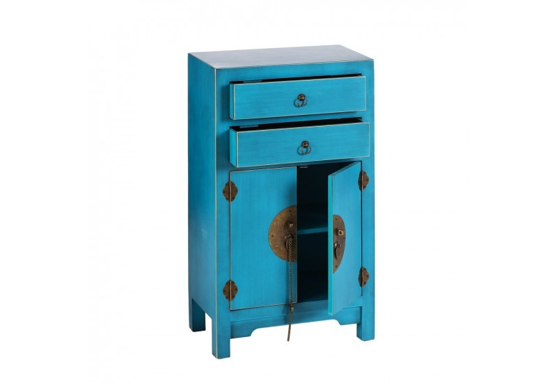commode chinoise 2 tiroirs et 2 portes en bois bleu turquoise by au. Black Bedroom Furniture Sets. Home Design Ideas