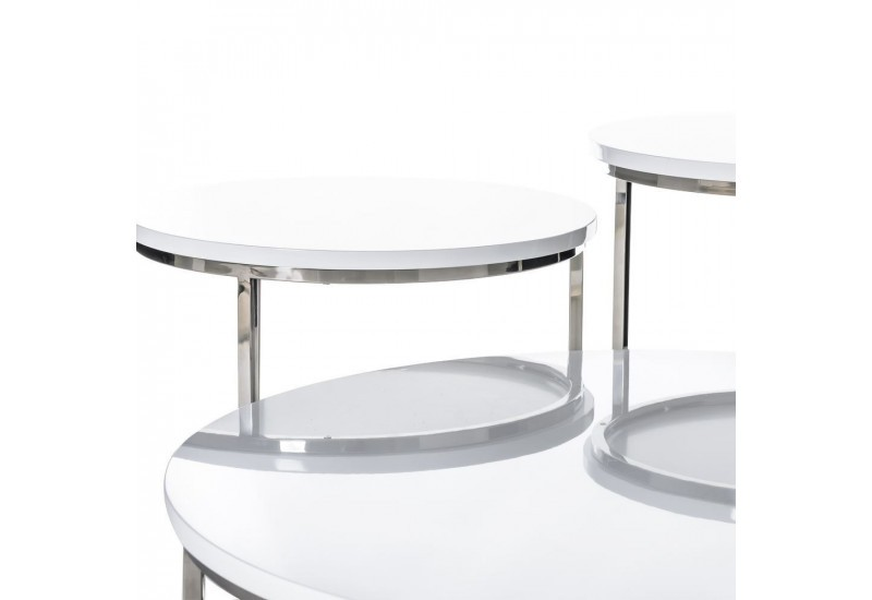 table basse ronde moderne en m tal et plateau bois laqu e blanc by. Black Bedroom Furniture Sets. Home Design Ideas
