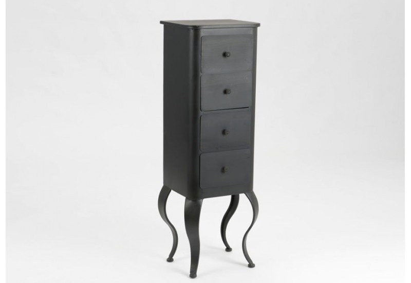 chiffonnier baroque en m tal noir avec 4 tiroirs louisette amadeus. Black Bedroom Furniture Sets. Home Design Ideas