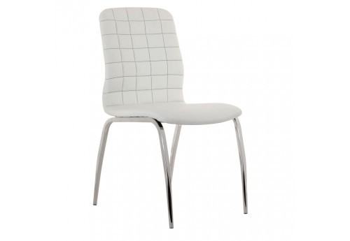 chaise moderne similicuir blanc et chrome Vical Home