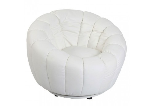 fauteuil rond en tissus blanc moderne Vical Home