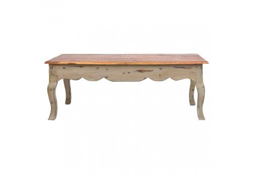 table basse bohème chic en bois brut multicolore Vical Home