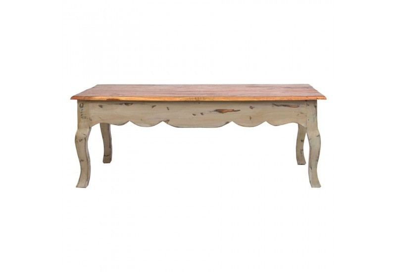 Table basse boh me chic en bois brut multicolore vical - Table basse multicolore ...