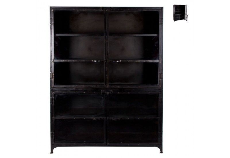 Biblioth que 4 portes en m tal noir vical home vical home - Bibliotheque metal noir ...