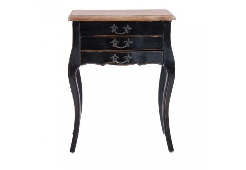 table de chevet chic 3 tiroirs patiné noir et plateau brut Vical Home