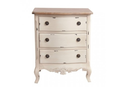 petite commode romantique en bois patin blanc et plateau brut vica. Black Bedroom Furniture Sets. Home Design Ideas
