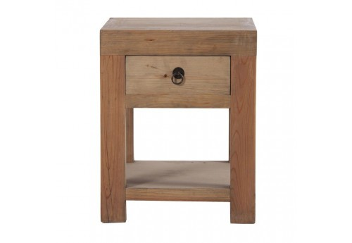 table de chevet cubique en bois brut 1 tiroirs Vical Home