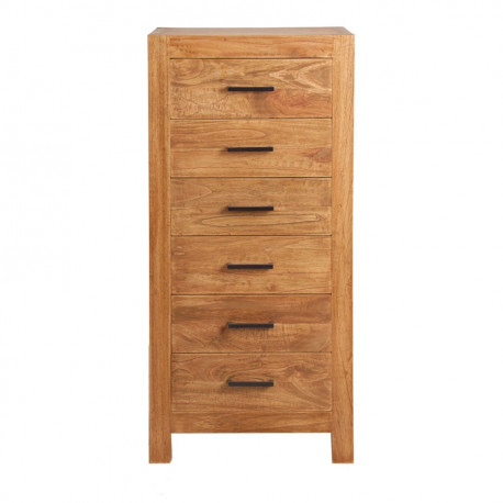 chiffonnier intemporel chic 6 tiroirs en bois massif bois naturel e. Black Bedroom Furniture Sets. Home Design Ideas