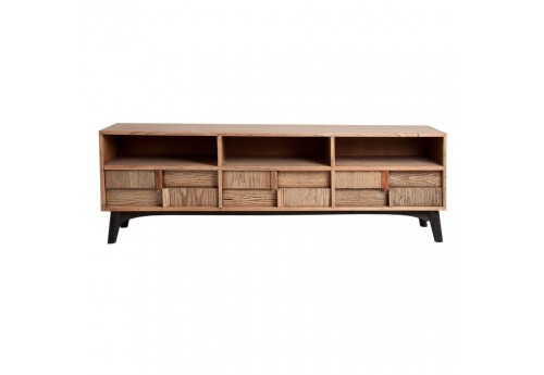 meuble tv scandinave 3 niches et 6 tiroirs vein bois naturel et no. Black Bedroom Furniture Sets. Home Design Ideas