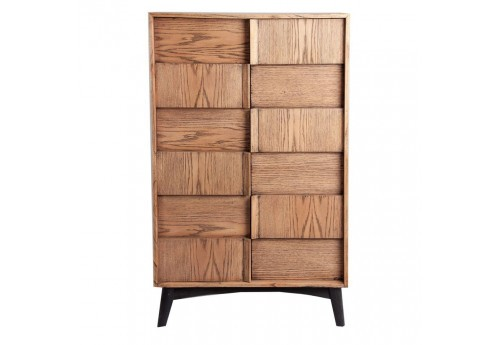 buffet scandinave 2 portes veiné bois naturel et noir Vical Home
