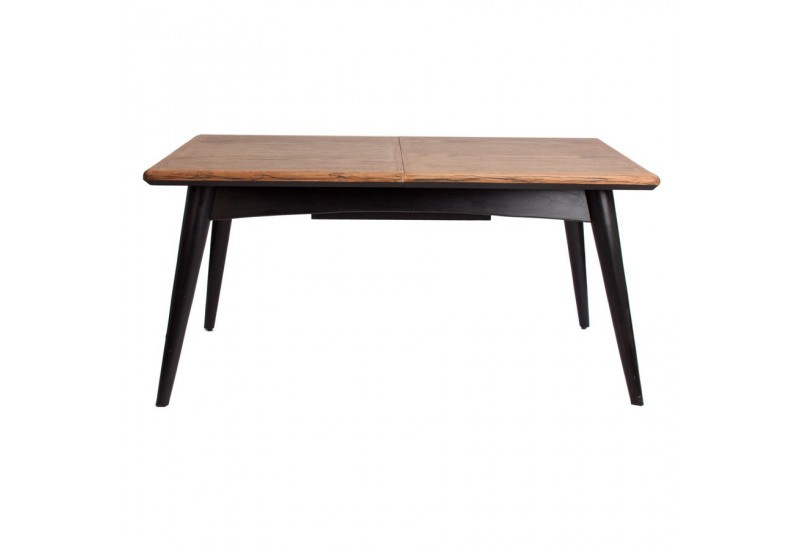 Table manger scandinave rectangulaire rallonge vein for Table noir et bois