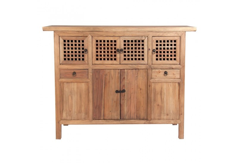 buffet asiatique en bois naturel 2 tiroirs et 8 portes vical home v. Black Bedroom Furniture Sets. Home Design Ideas