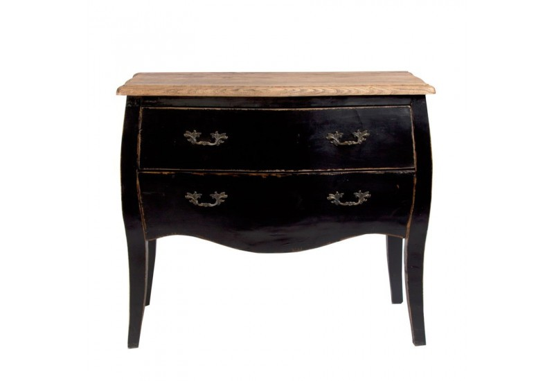 petite commode de charme chic en orme noir massif et plateau nature. Black Bedroom Furniture Sets. Home Design Ideas