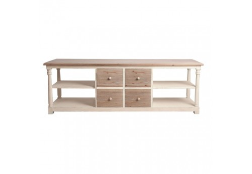 meuble tv campagne en bois patin blanc et naturel 4 tiroirs et 5 p. Black Bedroom Furniture Sets. Home Design Ideas
