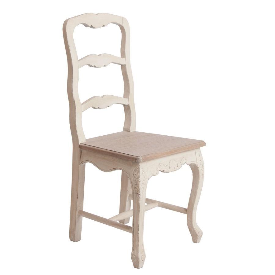 chaise campagne en bois patin blanc et assise naturel Vical Home