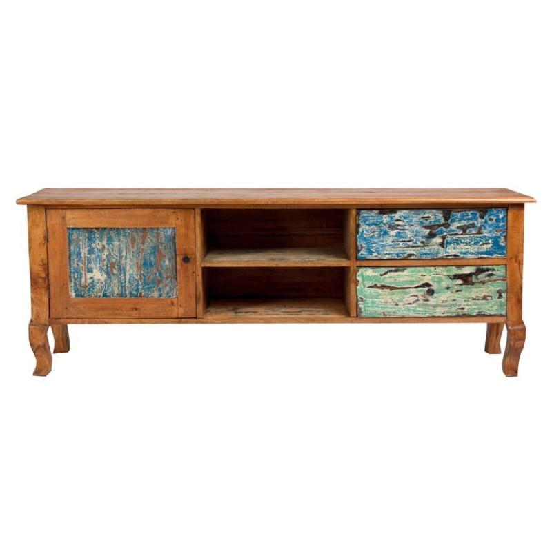 meuble tv vintage en bois acajou 2 tiroirs 1 porte multicolore vica. Black Bedroom Furniture Sets. Home Design Ideas
