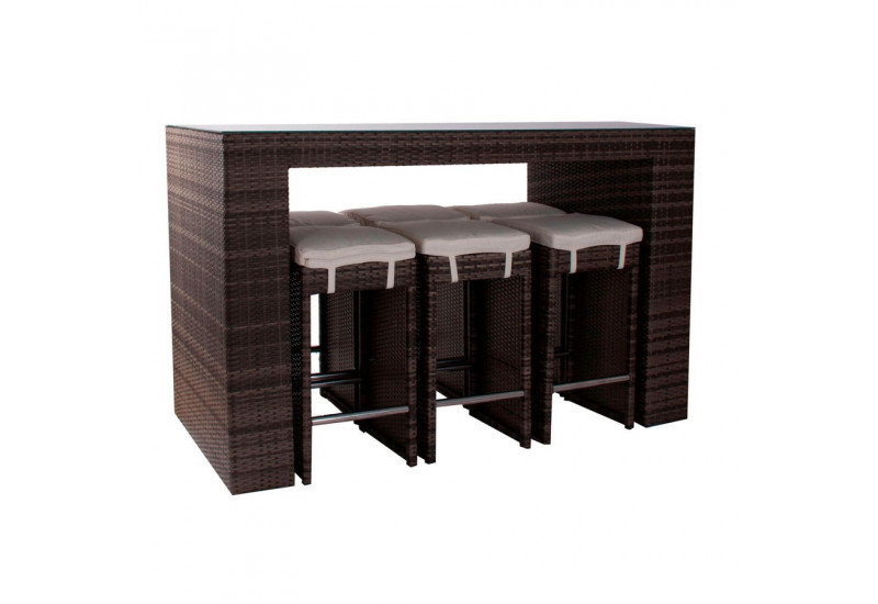 Salon de jardin 7 pi ces bar en r sine tress e marron - Salon de jardin table haute ...