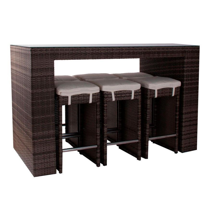 salon de jardin 7 pièces bar en résine tressée marron table haute e...