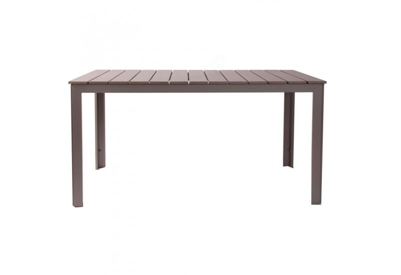 table de salon de jardin rectangulaire en aluminium gris Vical Home