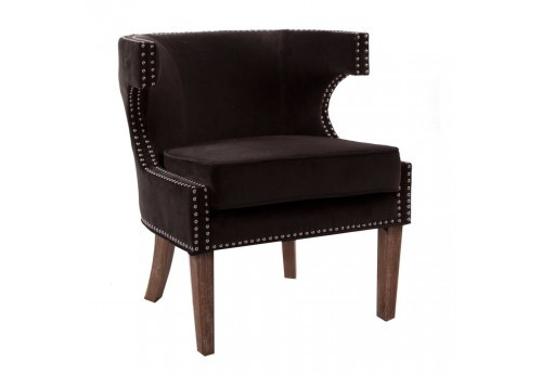 fauteuil original en velours chocolat et finition cloutée Vical Home