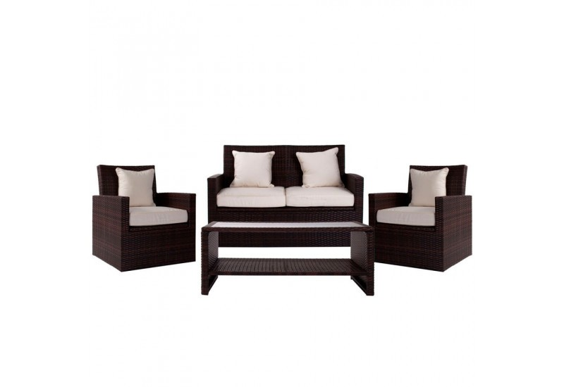Salon De Jardin 4 Pieces En Resine Tressee Marron 2 Fauteuils 1 Can