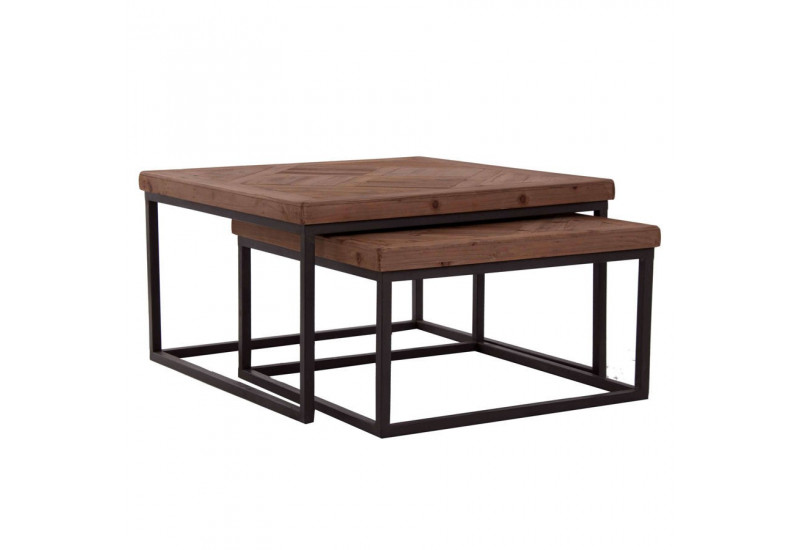 Table basse gigogne industriel carr avec plateau en orme for Table de salon carre