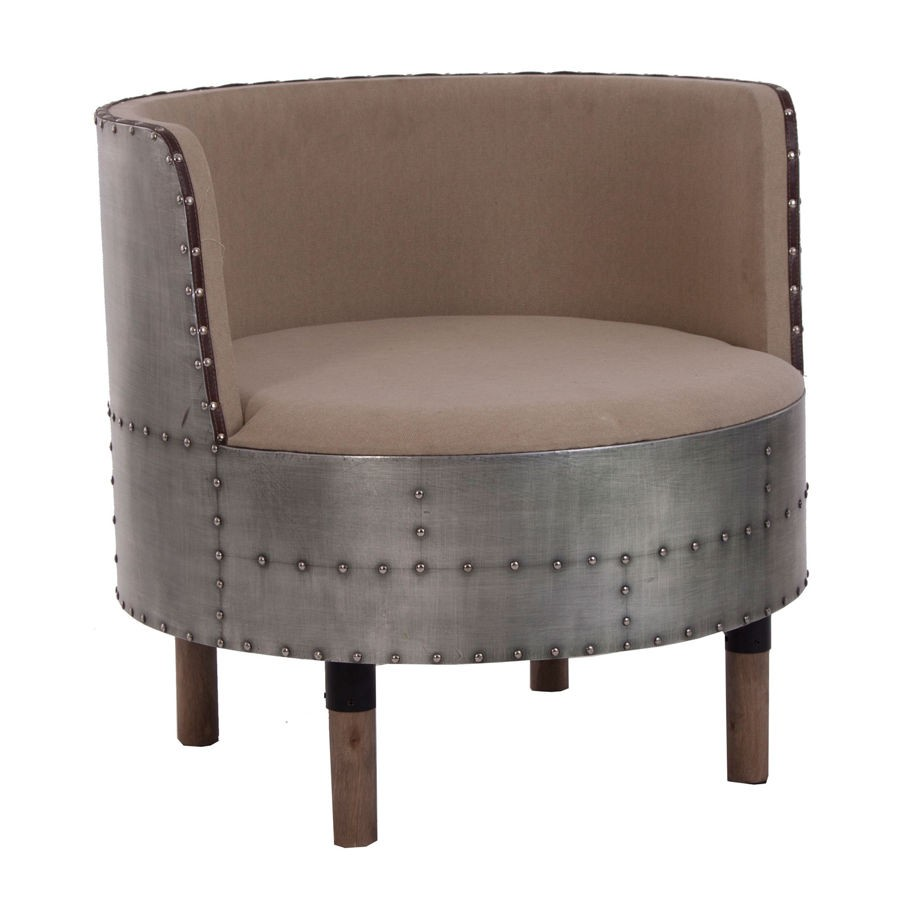 fauteuil rond original industriel en métal vieilli et assise en tis
