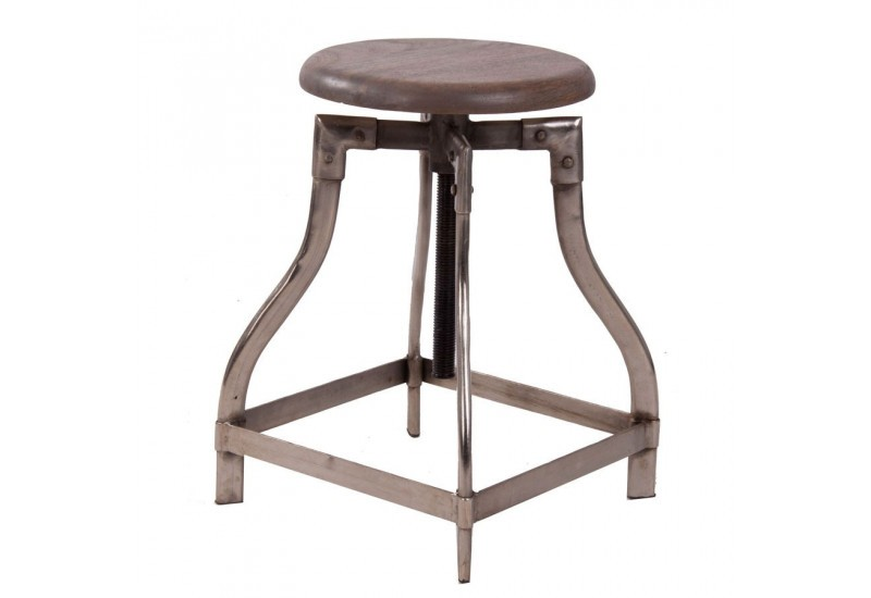 tabouret industriel en m tal bross et assise en bois massif rond a. Black Bedroom Furniture Sets. Home Design Ideas