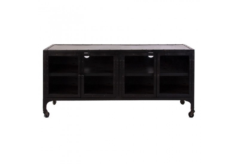 meuble tv industriel en m tal vieilli noir sur roulettes 4 portes v. Black Bedroom Furniture Sets. Home Design Ideas