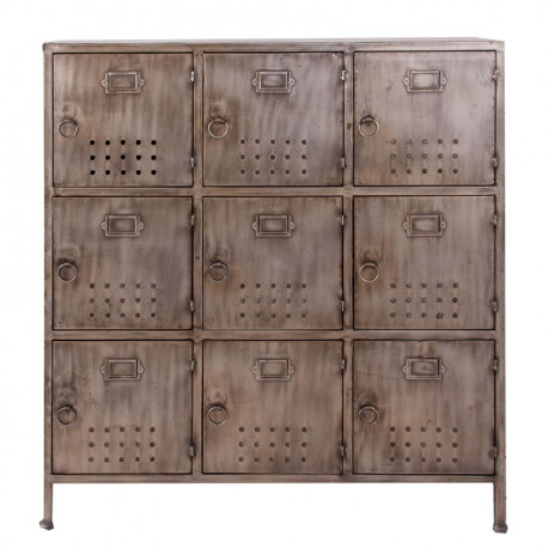 meuble de rangement industriel en m tal bross vieilli gris 9 casie. Black Bedroom Furniture Sets. Home Design Ideas