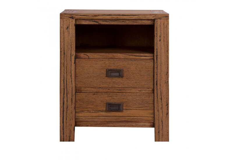 Table de chevet en bois exotique moderne 2 tiroirs 1 niche for Table de chevet campagne