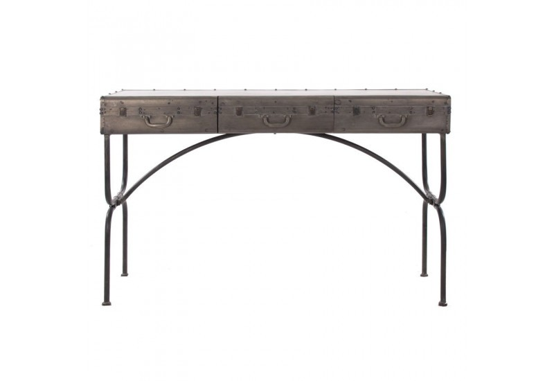 console vintage forme valise en fer vieilli gris 3 tiroirs vical ho. Black Bedroom Furniture Sets. Home Design Ideas
