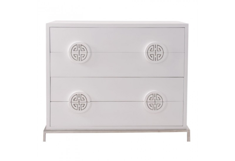 commode moderne en bois de manguier patine blanche 4 tiroirs vical. Black Bedroom Furniture Sets. Home Design Ideas