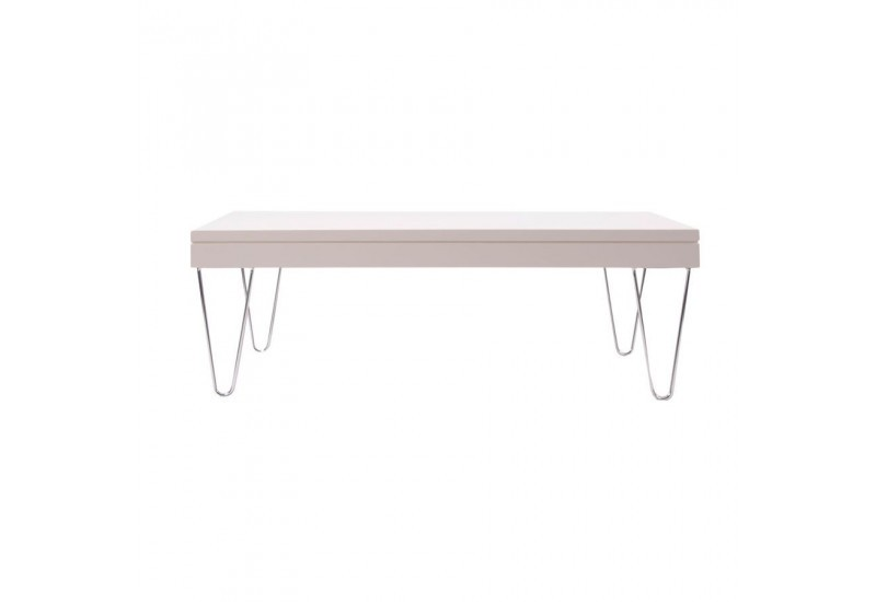 table basse moderne en bois laqu blanc sur pieds chrome vical home. Black Bedroom Furniture Sets. Home Design Ideas